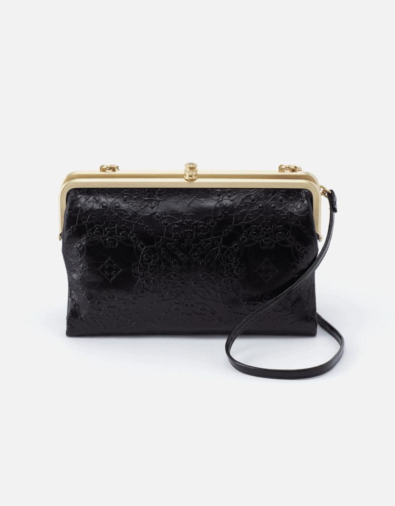 HOBO Leanne Black Embossed Leather Clutch/Crossbody