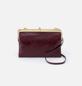 HOBO Leanne Deep Plum Embossed Leather Clutch/Crossbody