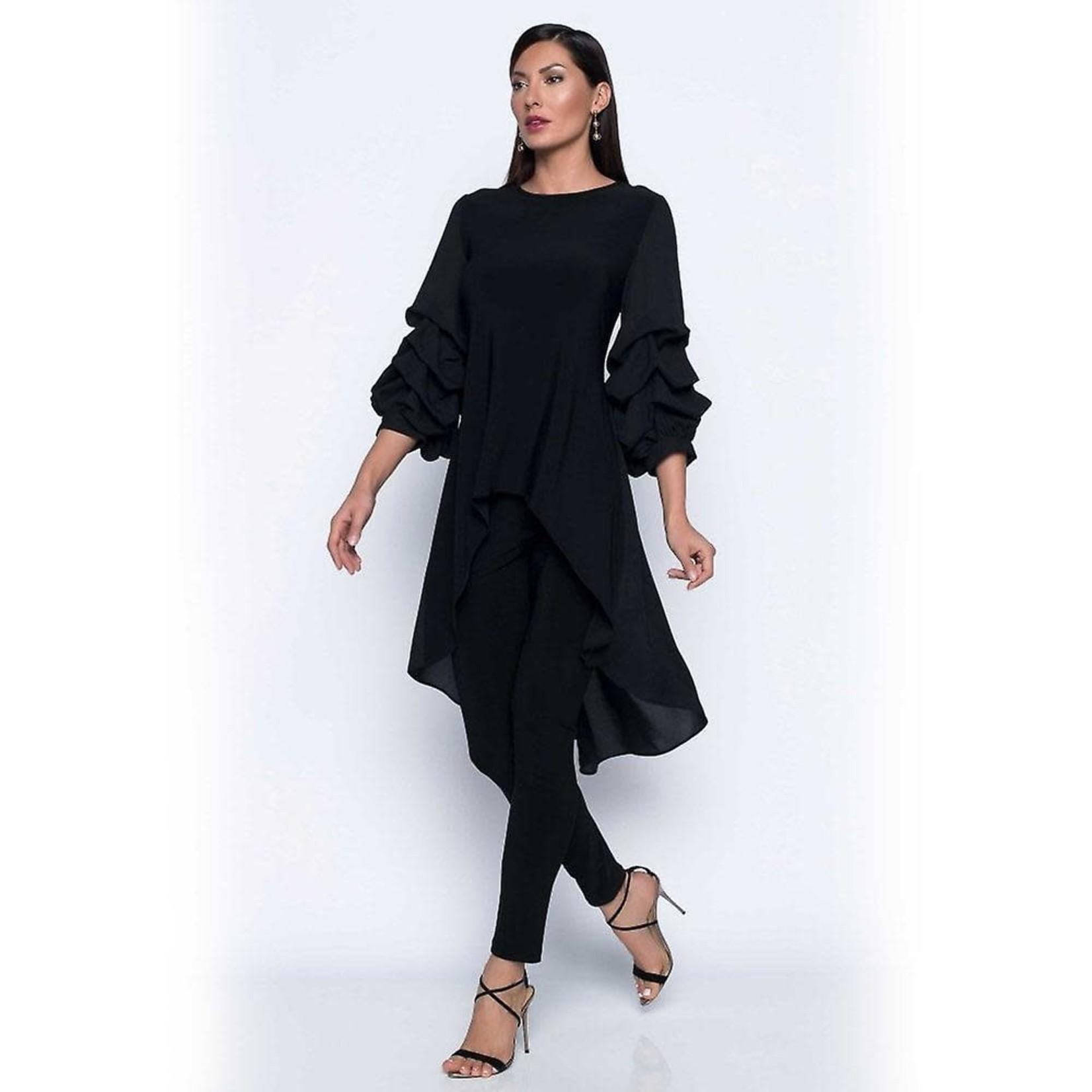 Voluminous Puffy Sleeve Black Fishtail Tunic