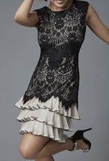 Champagne and Black Lace Overlay Evening Dress