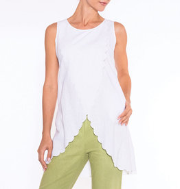 Layered Sleeveless Top w/ Asymmetrical Scallop Hemline