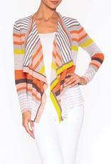 Striped Knit Cardigan w/ Floating Collar, No Closure