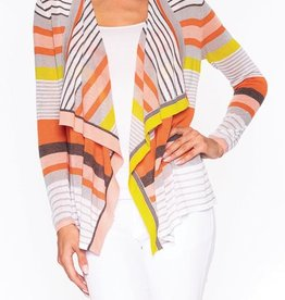 Striped Knit Cardigan w/ Floating Collar, No Closure