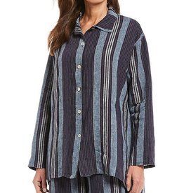 Bryn Walker Mirren Striped Linen Long Sleeve Hi-Low Hem Shirt