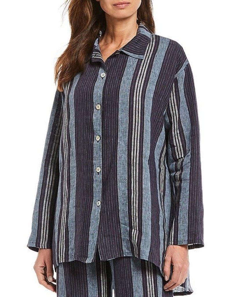 Bryn Walker Mirren Striped Linen Long Sleeve Hi-Low Hem Shirt