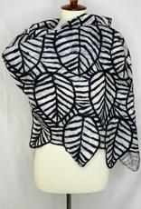 Outlined Leaf Black & White Wrap/Scarf
