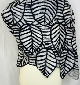 Outlined Leaf Black & White Wrap/Scarf