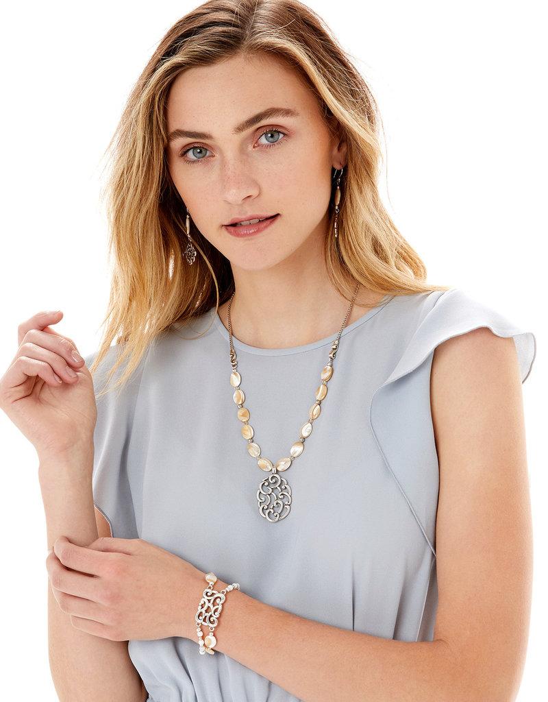 Brighton Barbados Nuvola Shell Bracelet Silver-Pearl