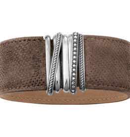 Brighton Neptune's Rings Wide Leather Bracelet S/M