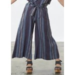 Bryn Walker Tie Waistband Multi DenimColors Crop Pants w/ Wide Leg