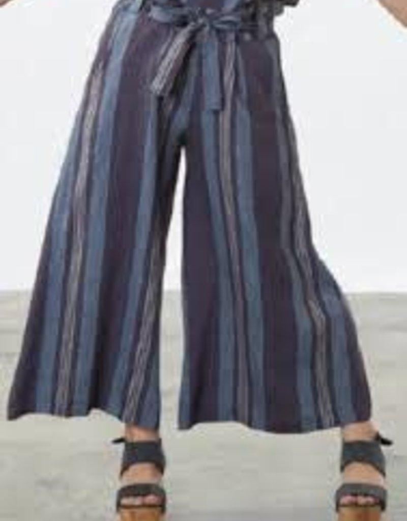 Bryn Walker Tie Waistband Multi DenimColors Crop Pants w/ Wide Leg