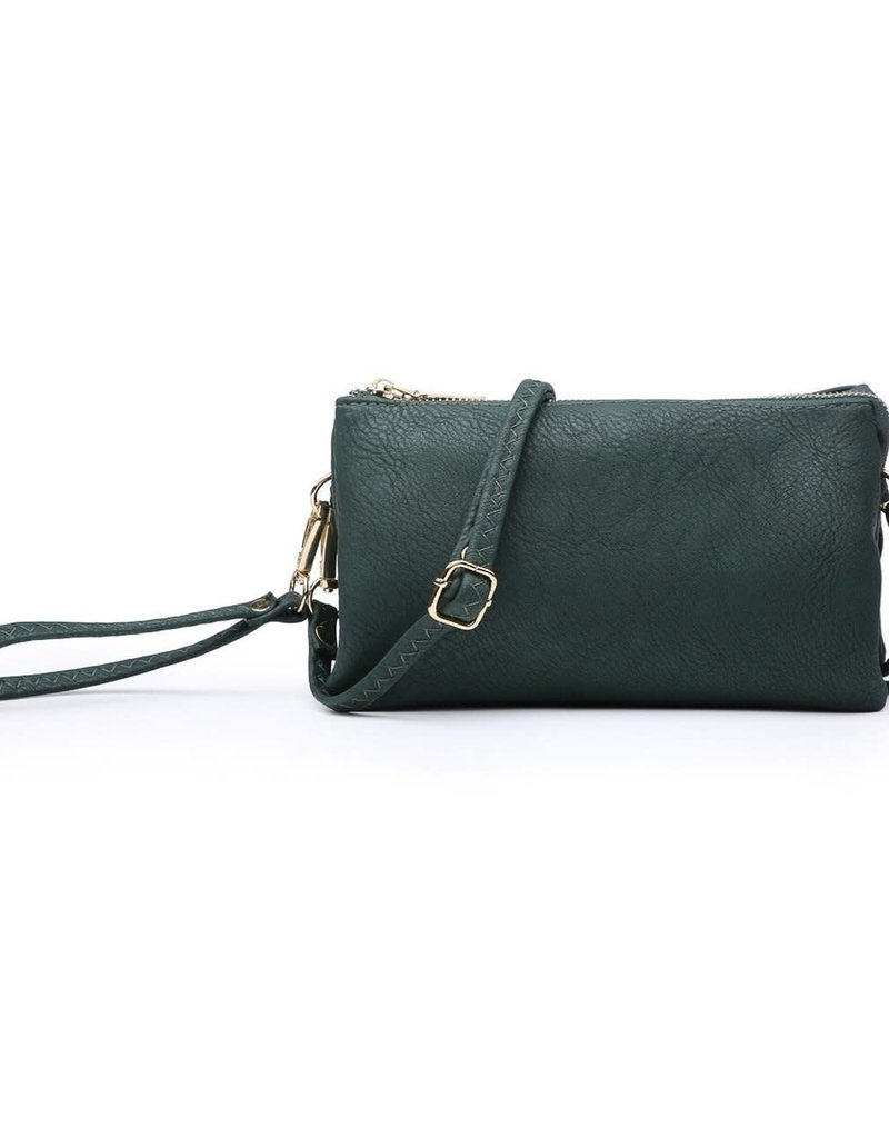 Riley - Vegan Leather Double-Sided Wristlet/Crossbody - Hunter Green (HGN)