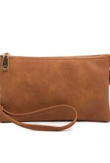 Riley - Vegan Leather Double-Sided Wristlet/Crossbody - Brown