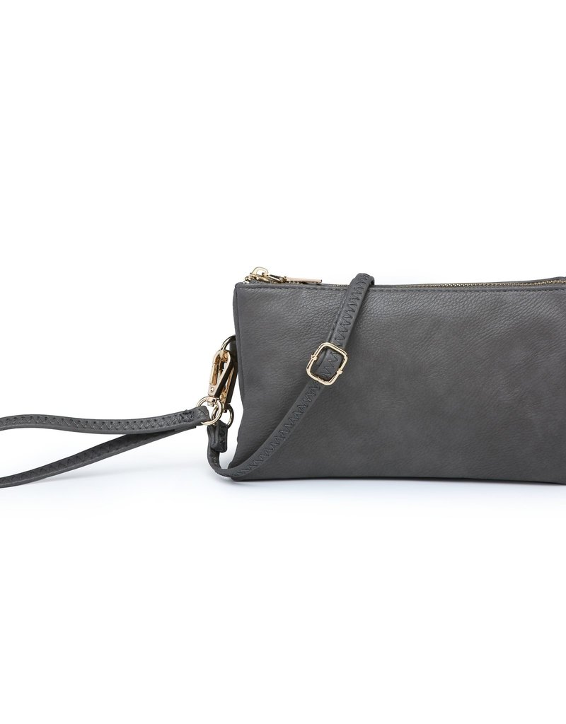 Riley - Vegan Leather Double-Sided Wristlet/Crossbody - Charcoal (CHAR)