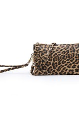Riley - Vegan Leather Double-Sided Wristlet/Crossbody - Leopard Mustard(LP.MD)