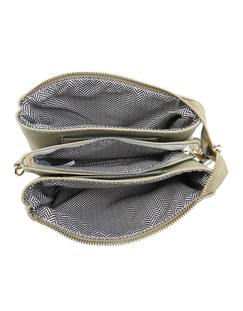 Riley - Vegan Leather Double-Sided Wristlet/Crossbody - Lt Grey (LGY)