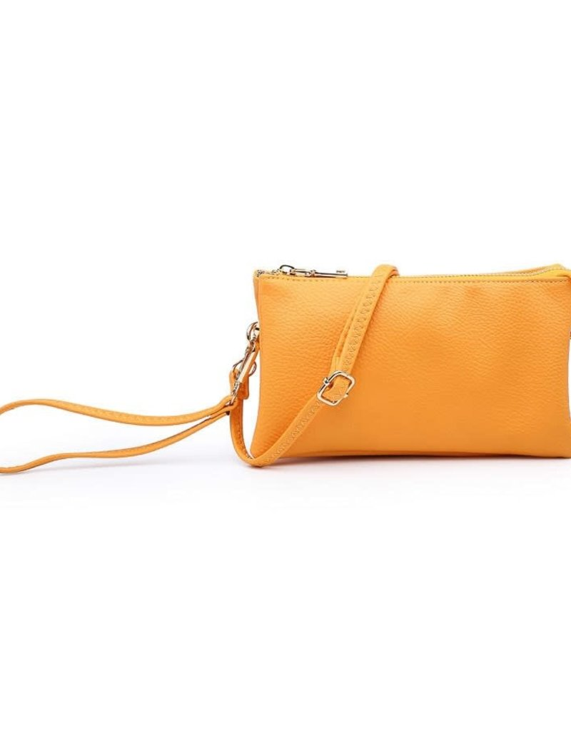 Wristlet/Crossbody in Light Orange Vegan Leather