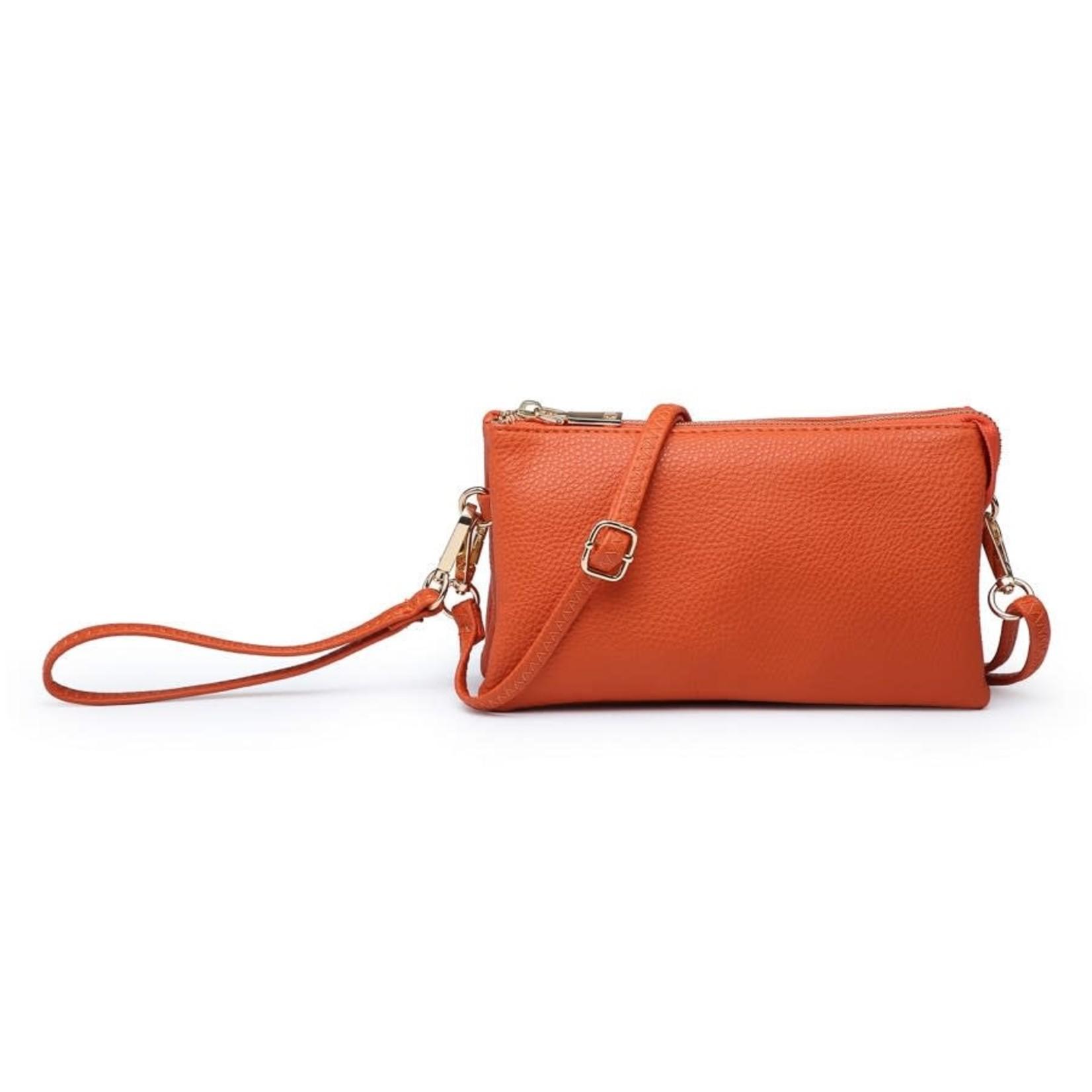 Riley - Vegan Leather Double-Sided Wristlet/Crossbody - Orange(OR)
