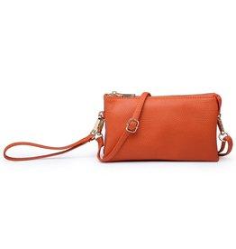 Wristlet/Crossbody in Orange Vegan Leather