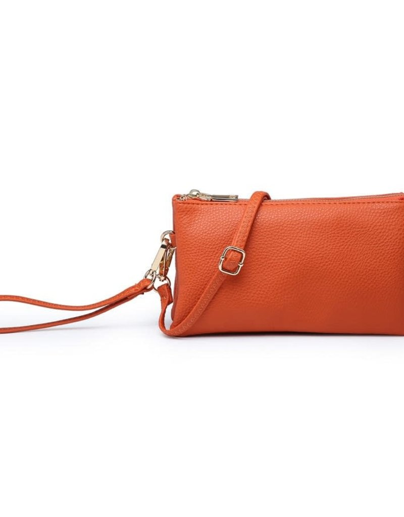 Riley - Vegan Leather Double-Sided Wristlet/Crossbody - Orange(OR)