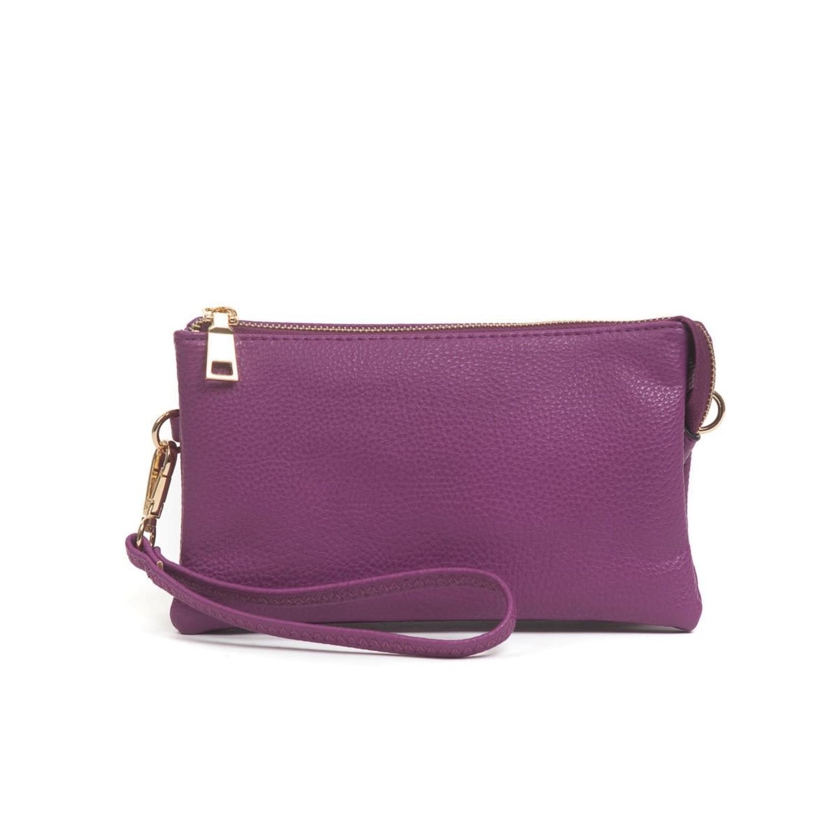 Riley - Vegan Leather Double-Sided Wristlet/Crossbody - Purple(PP)