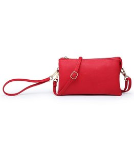 Riley - Vegan Leather Double-Sided Wristlet/Crossbody - Red (RD)