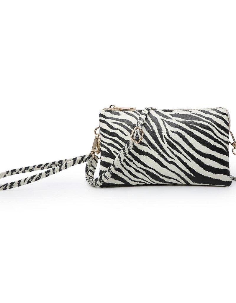 Riley - Vegan Leather Double-Sided Wristlet/Crossbody - Tiger White
