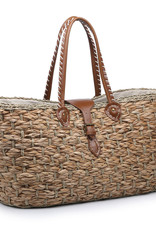 Large Straw Tote w/Vegan Leather Handles & Buckle Closure