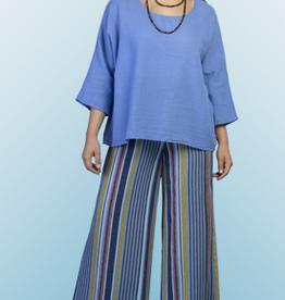 Blue Multi-Color Stripe Palazzo Pants/One Size