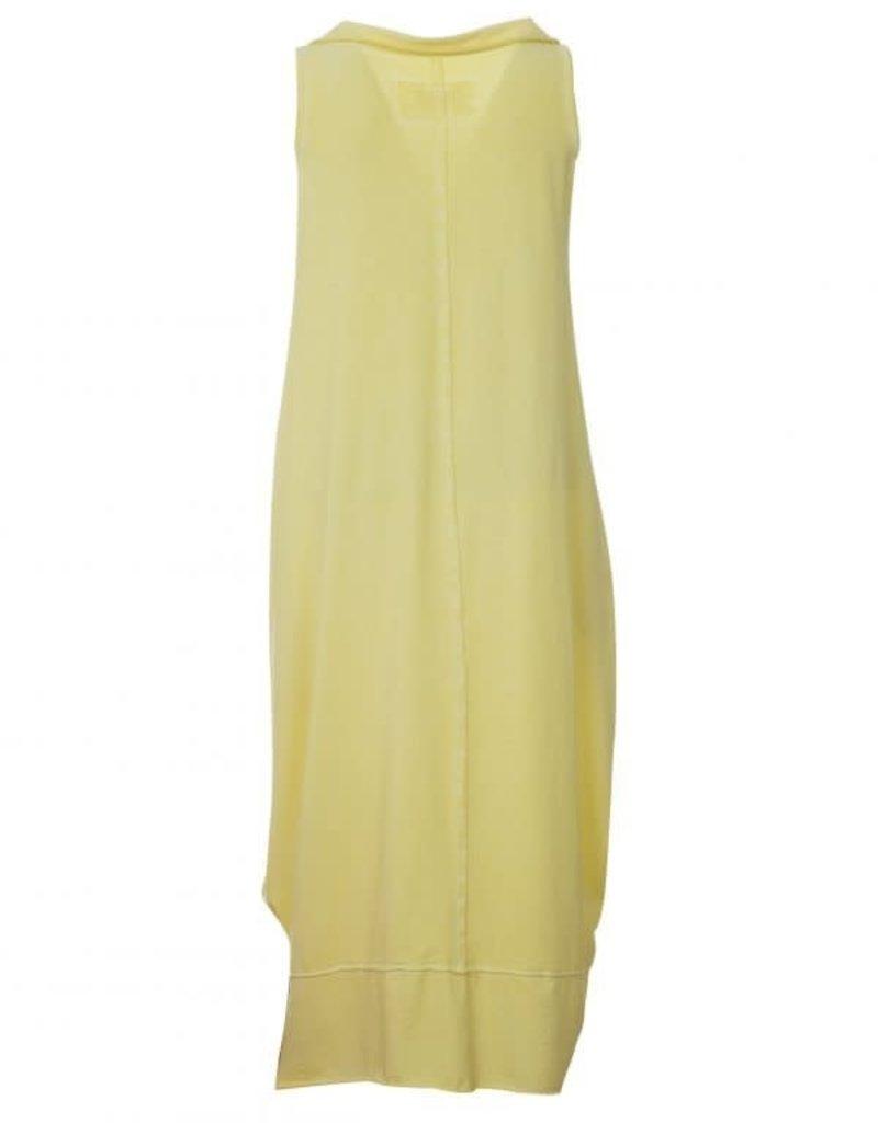 Luukaa Gloria Yellow Cotton Knitted Dress w/ Asymmetrical Collar
