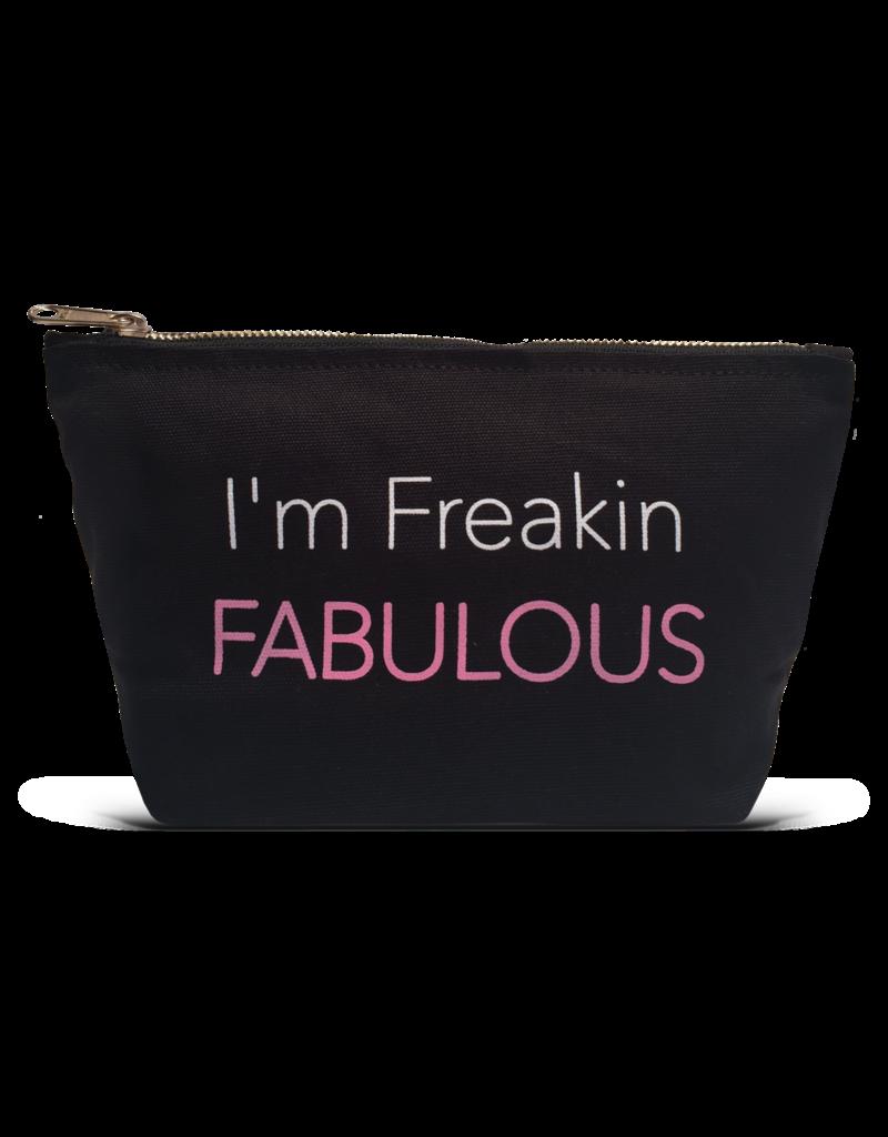 "Los Angeles Trading Co ""I'm Freakin Fabulous"" Black Canvas Pouch"