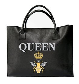 "Los Angeles Trading Co ""Queen Bee"" Modern Black Tote"