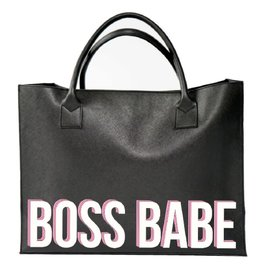 """Los Angeles Trading Co """"Boss Babe"""" Modern Black Tote"""