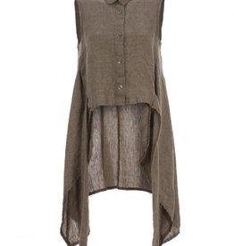 Luukaa Jasmine Beige Sleeveless Linen Woven Shirt-Tunic