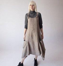 Luukaa Jasmine Beige Linen Woven Dress with Thick Straps