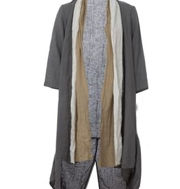 Luukaa Aria Long Linen Woven Cardigan with Three-Quarter Sleeves