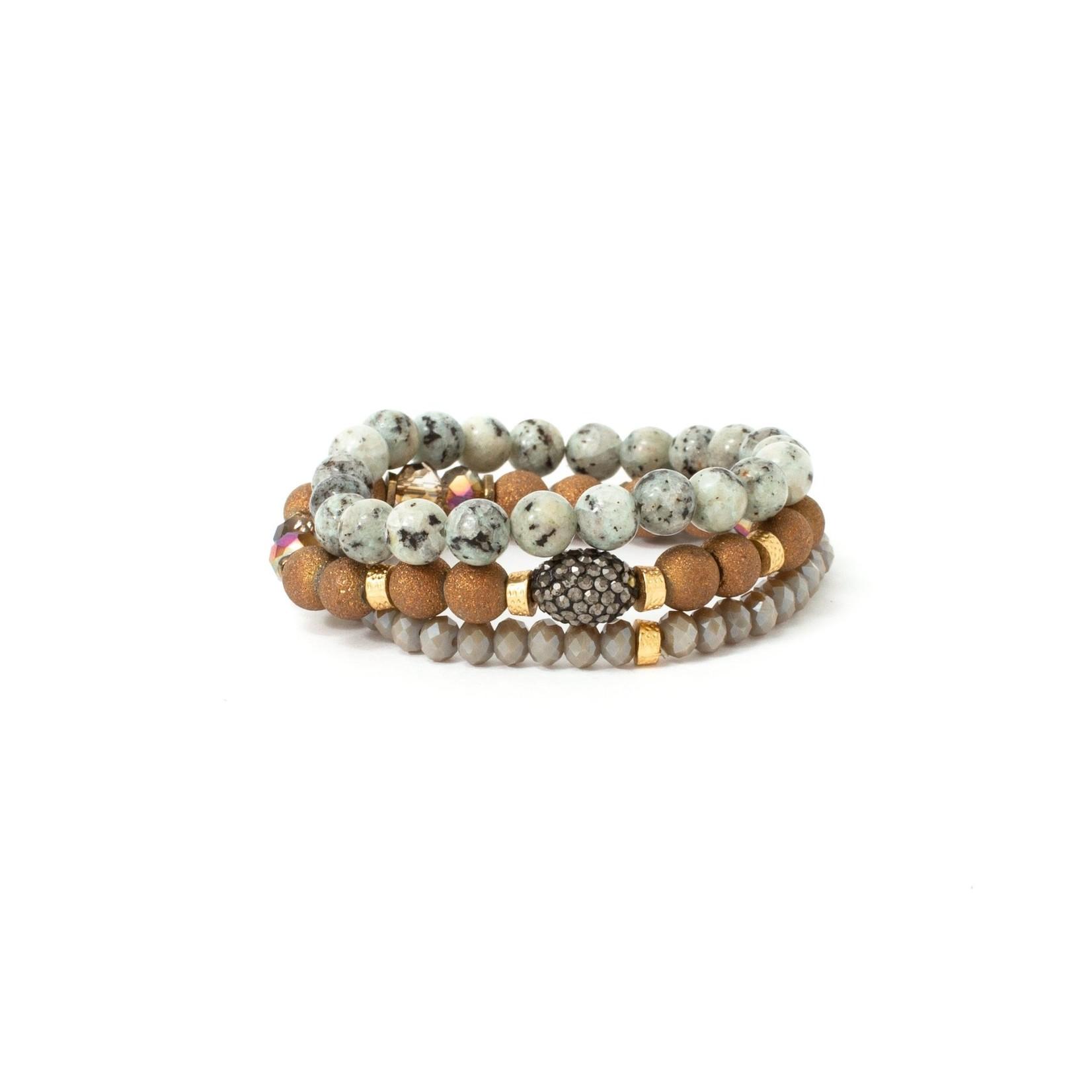 Bracelets/Set of 3 Bronze Grey w/Shimmer Center