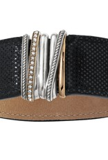 Brighton Neptune's Rings Wide Leather Bracelet Black S/M