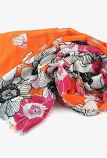 Petal Shower Scarf w/Orange White Pink Flowers