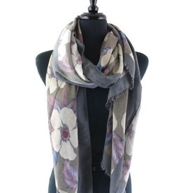 Dogwood Festival Dark Grey Scarf w/Solid Border