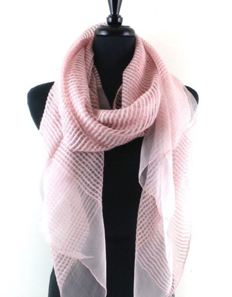 Solstice Pink Solid Sheer Ribbed Scarf
