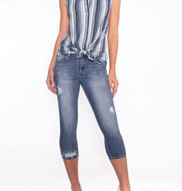 Button Up Collar Top w/ Denim Shades Frayed Stripes
