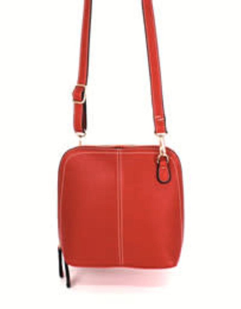 Treska Double Zip Red Vegan Leather Crossbody