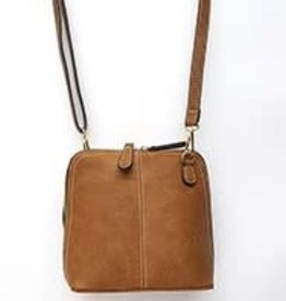 Treska Double Zip Tan Vegan Leather Crossbody