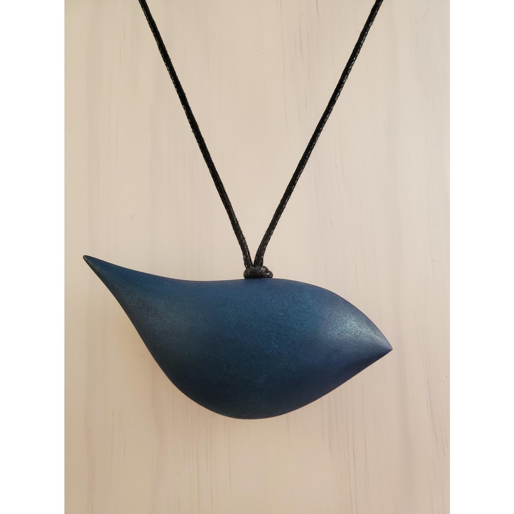 Blue Wood Bird Necklace On Adjustable Cord