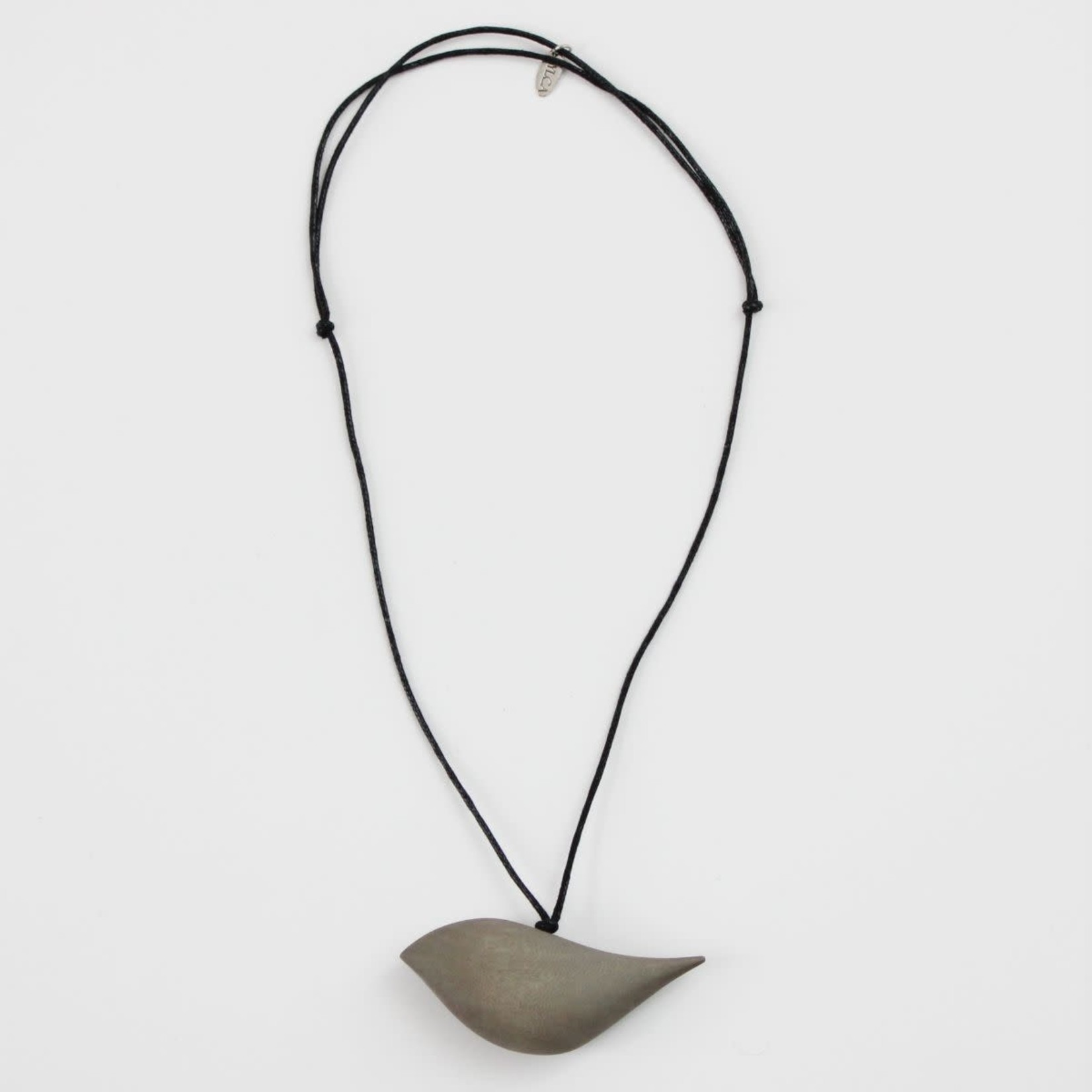 Grey Wood Bird Necklace On Adjustable Cord