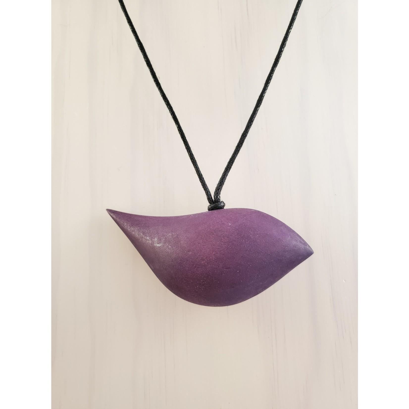 Purple Wood Bird Necklace On Adjustable Cord