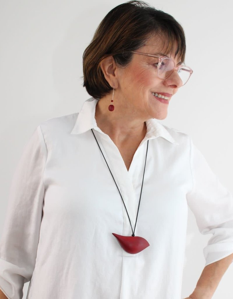 Red Wood Bird Necklace On Adjustable Cord