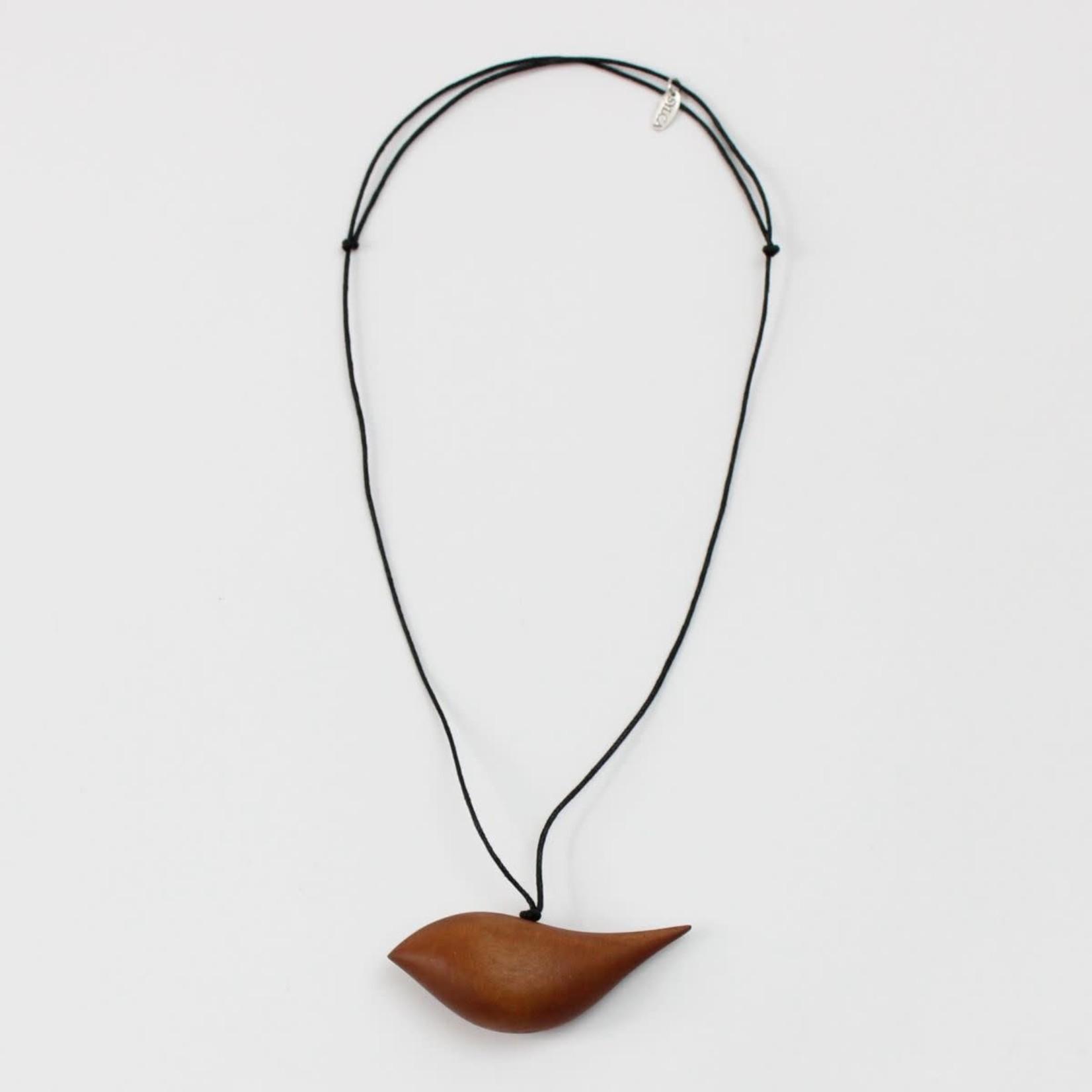 Rust Wood Bird Necklace On Adjustable Cord