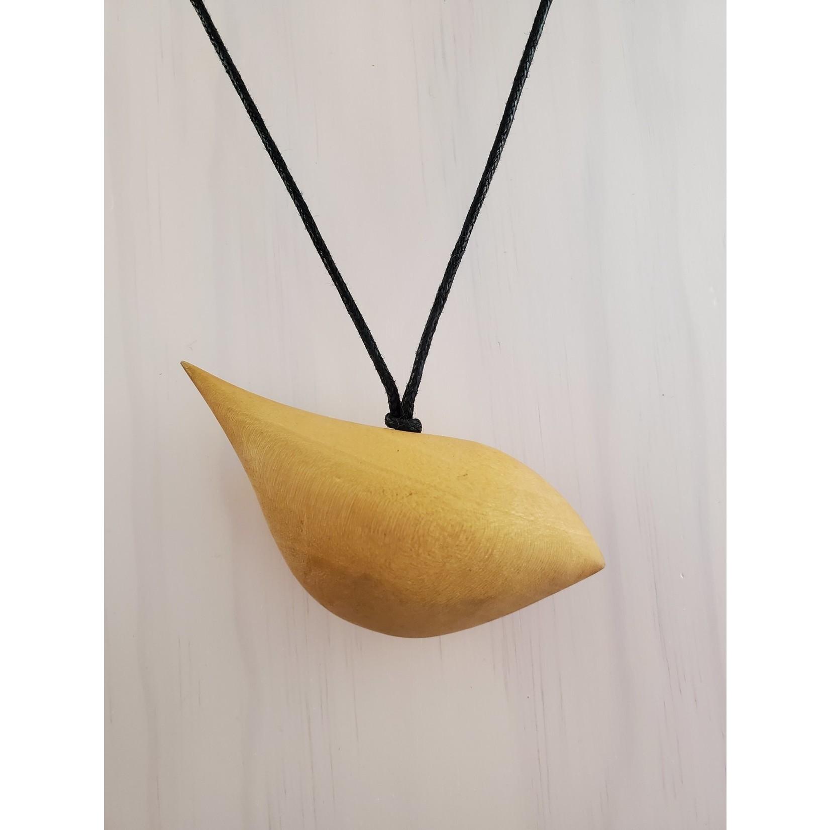 Yellow Ocher Wood Bird Necklace On Adjustable Cord